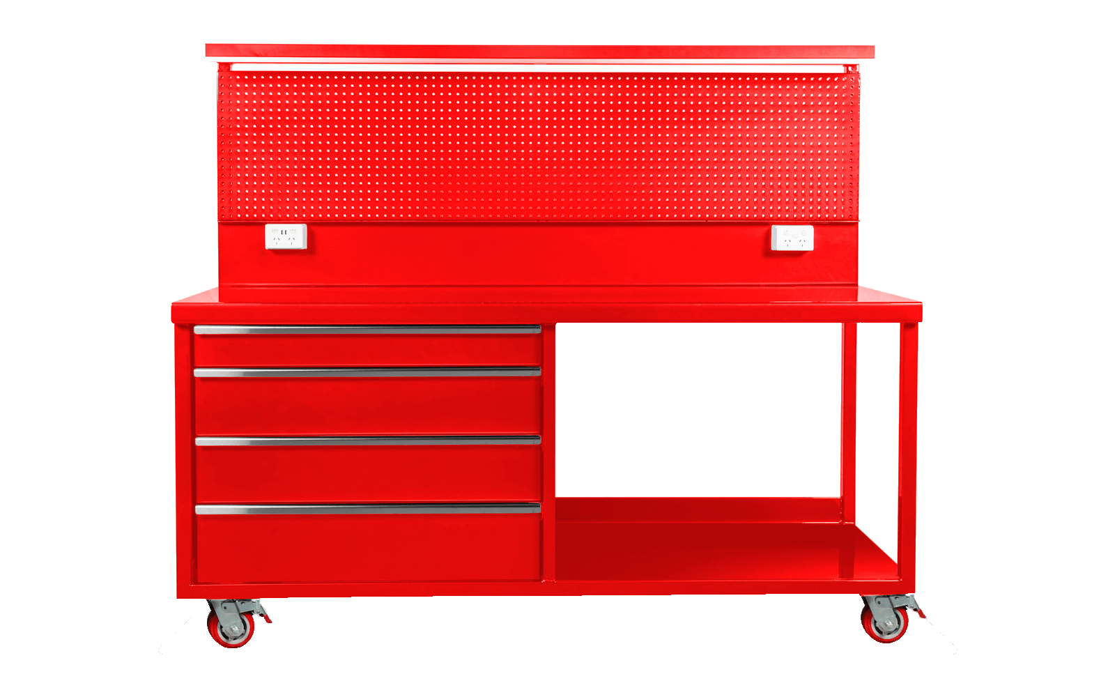 Workbench Warehouse - Red Four Drawers with Led Lighting